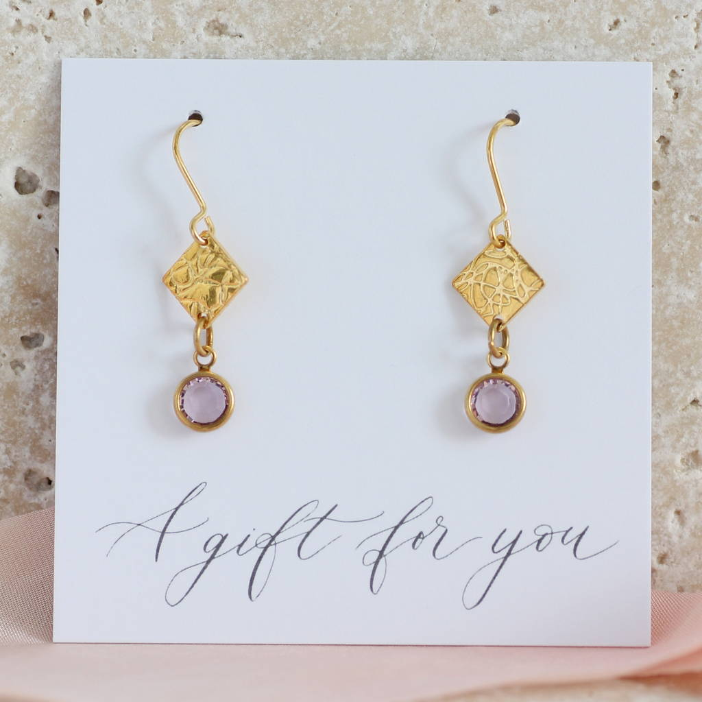 Square Swarovski Crystal Birthstone Earrings