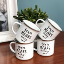 Family Personalised Enamel Mug Set, Team Surname Design