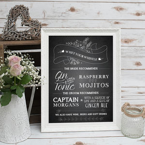 Chalkboard Cocktail Menu Print - room decorations