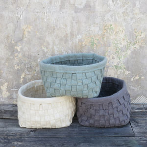 Fairtrade Handmade Eco Felt Woven Storage Basket - bedroom