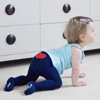 Navy Hearts Baby Tights