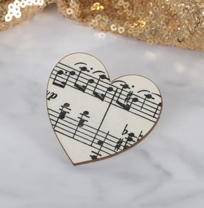 Music Teacher Thank You Heart Brooch