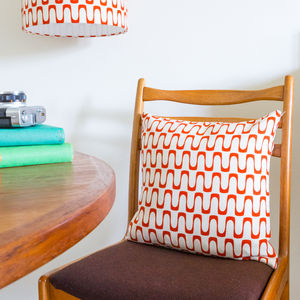 Retro Mid Century Barkcloth Cushion - living room