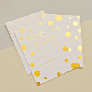 Polka Dot Gold Foil Wedding Stationery - invitations