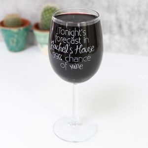 Personalised Engraved Wine 'Forecast' Wine Glass