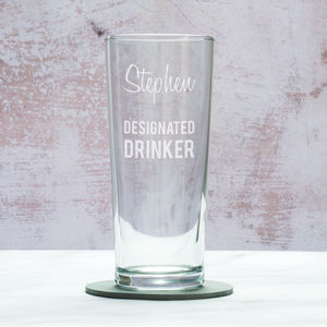 Designated Drinker Personalised Pint Glass