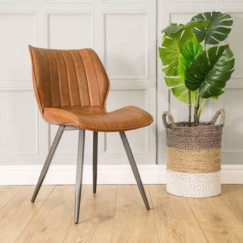 Lola Ribbed Dining Chair Tan Vegan Leather Set Of Two