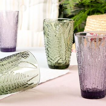 Four Botanical Alfresco Coloured Glass Hiball Tumblers