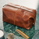 Leather Wash Bag Dark Tan Blind Embossing