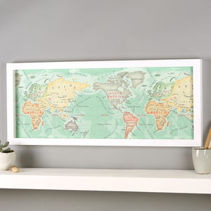 Personalised Hand Drawn Map Of The World Print - gifts for her