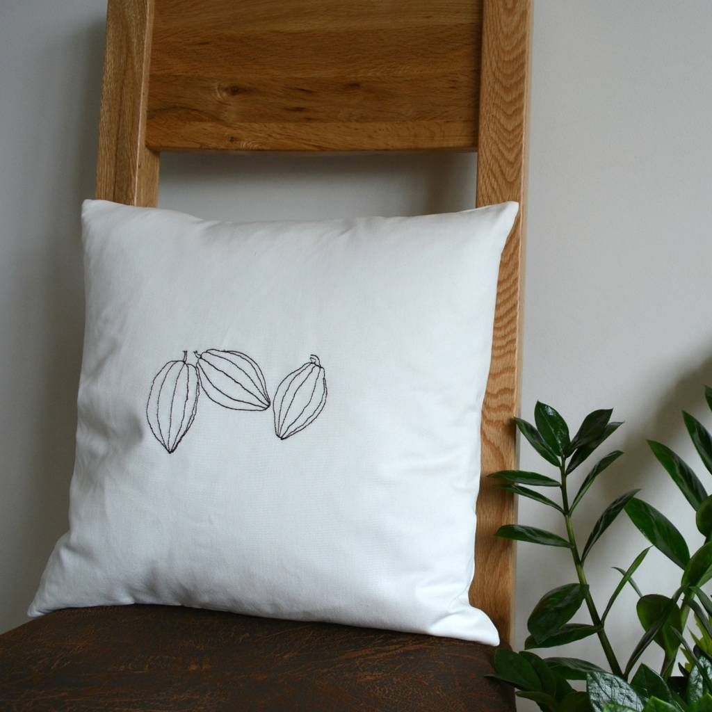 Chocolate Lover's Gift. Cocoa Pods Cushion Cover
