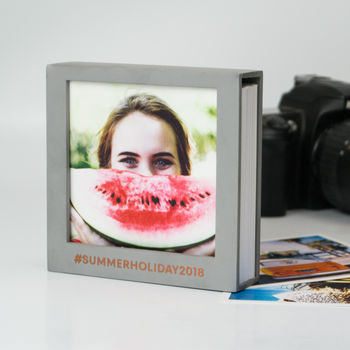 Slate Grey Square Photo Frame With 50 Prints