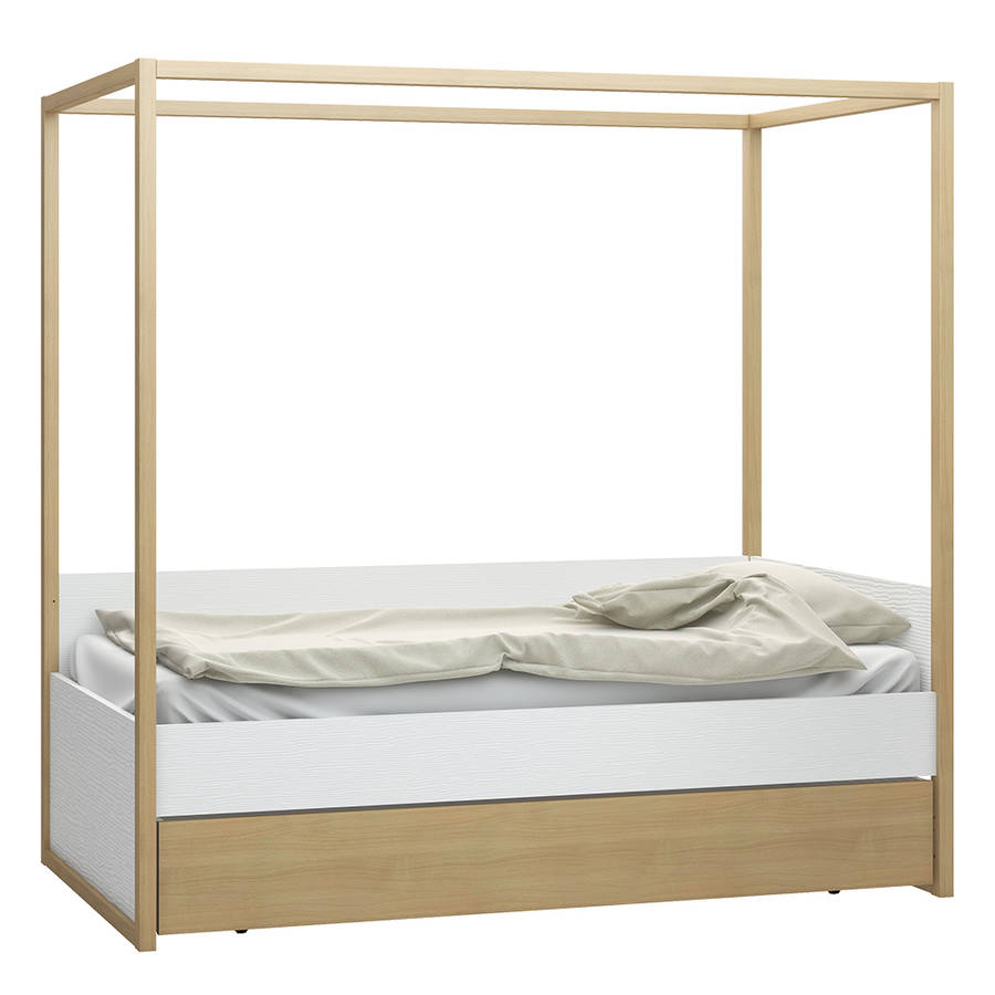 4 You Poster Single Bed In White And Oak Finish