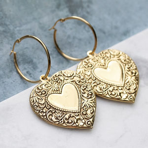 Detailed Heart Hoop Earrings In Gold Or Silver - earrings