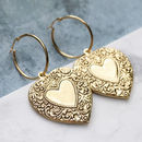 Detailed Heart Hoop Earrings In Gold Or Silver