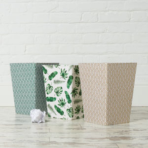 Recycled Tropical Leaf And Geometric Waste Paper Bin - wastepaper bins