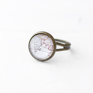 Antique World Map Ring