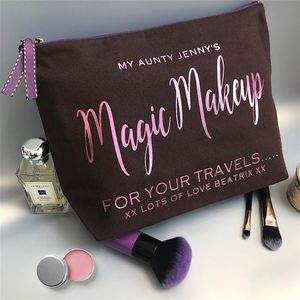 Chocolate And Metallic 'Starlight' Text Luxury Wash Bag