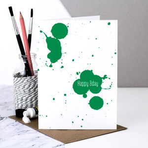 Birthday Card 'Happy Bday' In Green Paint Splatter