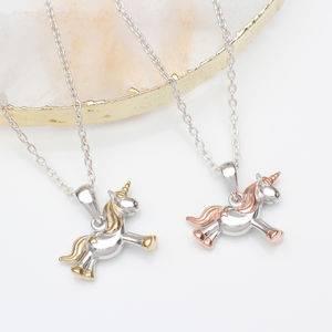 Personalised Sterling Silver And Gold Unicorn Necklace - new in jewellery