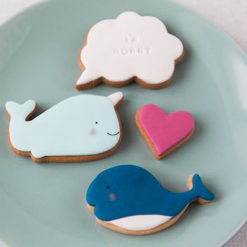 Cheeky Narwhal Valentines Biscuits