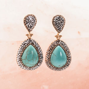 Gemstone And Crystal Drop Earrings