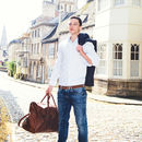Personalised Leather Drake Strapped Overnight Holdall
