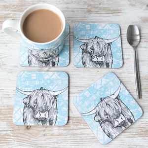 'Tartan Coo' Scottish Highland Cow Coasters