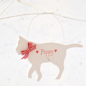 Personalised White Christmas Cat Decoration - home accessories