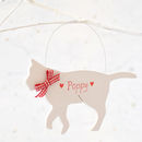 Personalised White Christmas Cat Decoration