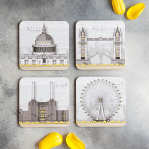 London Landmarks Set Of Four Coasters