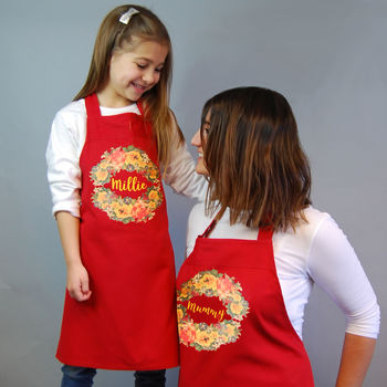 Personalised Mum And Child Apron Set