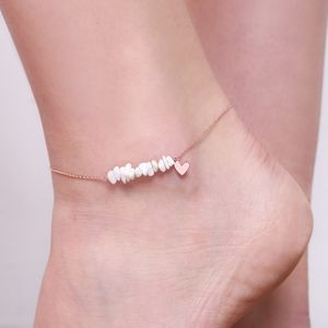 Stone And Heart Charm Anklet