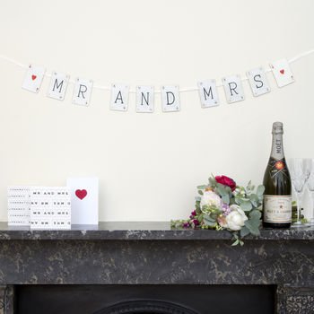 Mr And Mrs Vintage Card Wedding Bunting