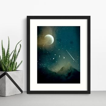 Mountains And Moon Night Sky Print