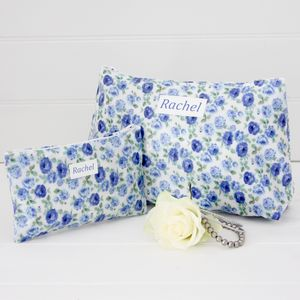 Floral Personalised Washbag And Jewellery Pouch Set