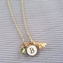 Personalised Gold Bee Initial And Birthstone Necklace