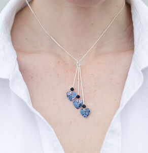 Forget Me Not Blue Triple Heart Necklace