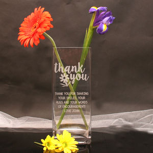 Thank You Engraved Vase - flowers, plants & vases