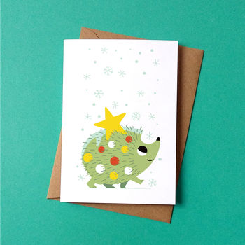 Christmas Card Festive Hedgehog