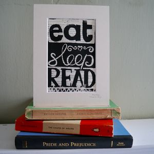 Reader's Motto Original Framed Linoprint