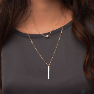 Layered Necklace Set With Pearl And Long Bar - necklaces & pendants
