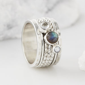 Ethereal Galaxy Gemstone Spinning Ring - rings