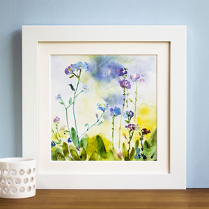 'Forget Me Not Flowers' Mounted And Signed Print - nature & landscape