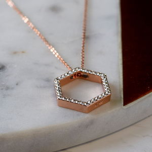Rose Gold Swarovski Hexagon Necklace