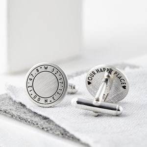 Personalised Round Silver Coordinate Cufflinks
