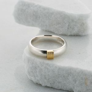 Slim Silver Ring With Five Gold Strand Detail - fine jewellery