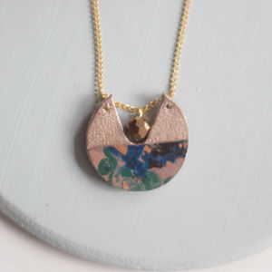 Starburst Marbled Leather Cutout Disk Pendant