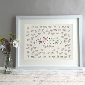 Personalised Bikes Wedding Guest Book Print