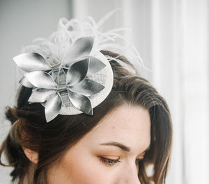 Silver Leather Cocktail Hat 'Thea'